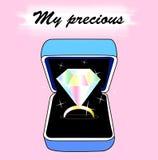 Diamond Ring in una scatola Fotografia Stock