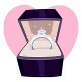 Diamond Ring in una scatola Immagine Stock