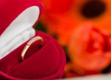 Diamond ring in a velvet red box Royalty Free Stock Photo