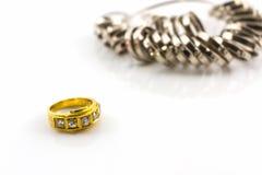 Diamond ring on white background. Royalty Free Stock Photo