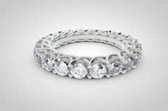 Diamond Ring on white background. Realistic Render of a beautiful diamond ring Royalty Free Stock Photography