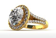 Diamond Ring on White Stock Photography