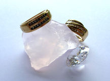 Diamond rings. A pair of diamond rings on display Stock Photography