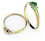 Diamond Rings Abbildung 3D Lizenzfreie Stockfotografie