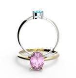 Diamond Rings Abbildung 3D Lizenzfreie Stockbilder