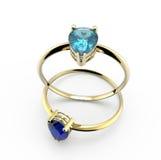 Diamond Rings Abbildung 3D Lizenzfreies Stockbild