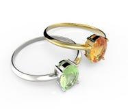 Diamond Rings Aislado en el fondo blanco Imagen de archivo libre de regalías