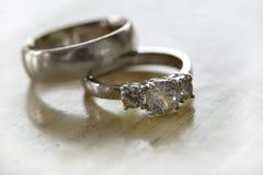 Diamond Rings Closeup Jewelry fotografía de archivo