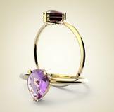 Diamond Rings 3D Illustratie Royalty-vrije Stock Foto's