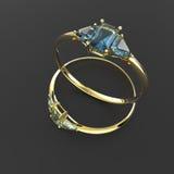 Diamond Rings 3D Illustratie Stock Afbeeldingen
