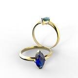 Diamond Rings 3D Illustratie Royalty-vrije Stock Afbeeldingen