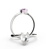Diamond Rings. 3D illustration. Diamond Rings on a white background.  3d digitally rendered illustration Stock Photo