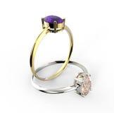 Diamond Rings D'isolement sur le fond blanc Photo libre de droits