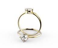 Diamond Rings D'isolement sur le fond blanc Images libres de droits