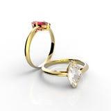 Diamond Rings D'isolement sur un fond blanc Images stock