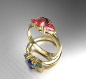 Diamond Rings forme la joyería ilustración 3D Fotografía de archivo libre de regalías