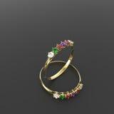Diamond Rings forme la joyería ilustración 3D Fotos de archivo libres de regalías