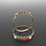 Diamond Rings forme la joyería ilustración 3D Imagenes de archivo
