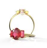 Diamond Rings Geïsoleerd op een witte achtergrond Royalty-vrije Stock Foto