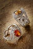 Diamond rings with gems Royalty Free Stock Photo