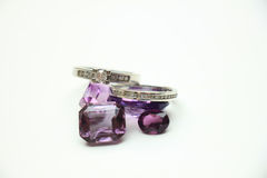 Diamond rings on gemstones Royalty Free Stock Photography