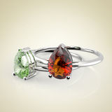 Diamond Rings het 3d teruggeven Stock Fotografie