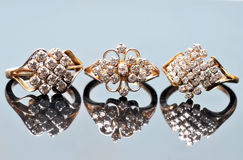Diamond rings jewellery Stock Photography