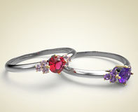 Diamond Rings.  on light background. Wedding rings with diamonds on a light background. Fashion jewelry. 3d digitally rendered illustration Stock Image