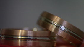 Diamond rings in light. Close-up stock video