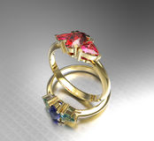 Diamond Rings manier juwelen 3D Illustratie Royalty-vrije Stock Fotografie