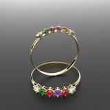 Diamond Rings manier juwelen 3D Illustratie Stock Afbeeldingen
