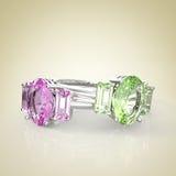 Diamond Rings op een lichte achtergrond 3D Illustratie Stock Foto