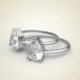 Diamond Rings op een lichte achtergrond het 3d teruggeven Royalty-vrije Stock Afbeeldingen
