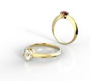 Diamond Rings Op een witte achtergrond het 3d teruggeven Royalty-vrije Stock Foto
