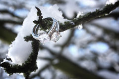 Diamond rings in winter scene Stock Photo
