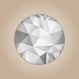 Diamond round shape. Grayscale color abstract polygonal vector illustration isolated on beige background Stock Photography