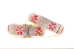Diamond ruby bracelets Royalty Free Stock Image