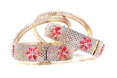 Diamond ruby bracelets Royalty Free Stock Images