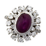 Diamond and Ruby RIng. Diamond and Massive Ruby Ring isoloated on white Stock Photo