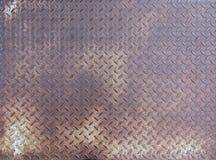 Diamond rusty steel plate - grunge texture Stock Photos
