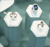 Diamond and Sapphire Rings Stock Photo