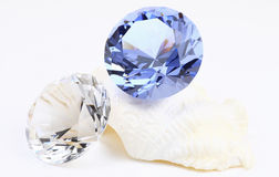 Diamond and Sapphire stone. White diamond with sapphire stone on white background stock image
