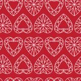 Diamond Seamless Pattern en forme de coeur blanc sur rouge illustration de vecteur