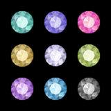 Diamond set. Set of colored gem stones, round diamonds on black Stock Photos