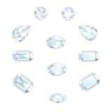 Diamond Set Isolated Objects Imágenes de archivo libres de regalías