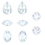 Diamond Set Isolated Objects. Diamonds set different cut - round, drop, oval and race. Brilliant three-dimensional jewelry on a white background. Isolated Stock Image