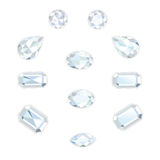 Diamond Set Isolated Objects. Diamonds set different cut - round, drop, pear, oval, octagon and race. Brilliant three-dimensional jewelry on a white background Royalty Free Stock Images