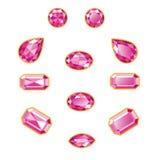 Diamond Set Isolated Objects rosado Fotos de archivo libres de regalías