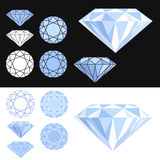 Diamond. Set. objects on white and black background. Vector illustration (EPS 10 stock illustration