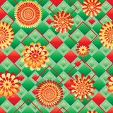 Diamond shape bring ray flower seamless pattern Royalty Free Stock Photos